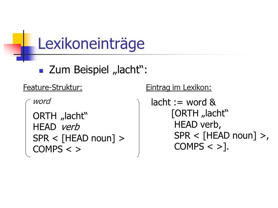 """Lexikoneinträge Zum Beispiel """"lacht : lacht := word & [ORTH """"lacht"""